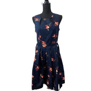 ModCloth Navy Floral Dress by Apricot Size Medium
